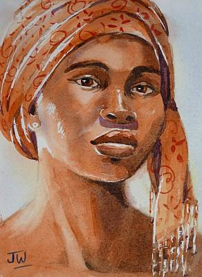 Painting - Botswana Woman Wearing Head Wrap by June Walker