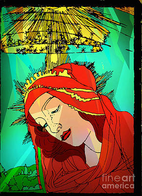 Jesus Face Digital Art - Botticelli Madonna Abstract Background by Genevieve Esson