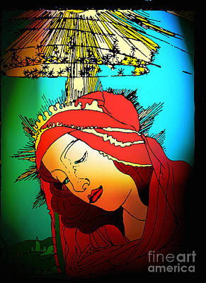 Jesus Face Digital Art - Botticelli Madonna Brights by Genevieve Esson