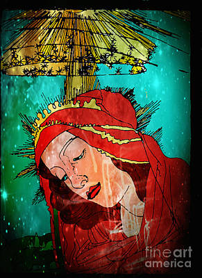 Jesus Face Digital Art - Botticelli Madonna In Space by Genevieve Esson