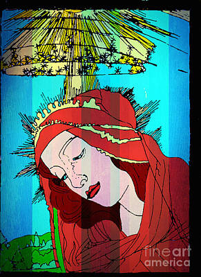 Jesus Face Digital Art - Botticelli Madonna In Vertical Stripes by Genevieve Esson