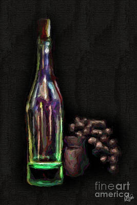 Art Print featuring the photograph Bottle And Grapes by Walt Foegelle