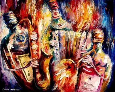 Bottle Jazz Art Print by Leonid Afremov