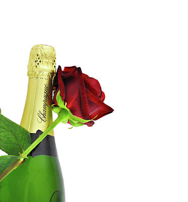 Bottle Of Champagne And A Red Rose Art Print