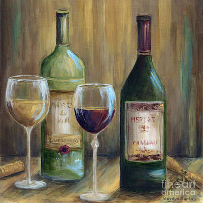 Wine Glass Painting - Bottle Of Red Bottle Of White   by Marilyn Dunlap
