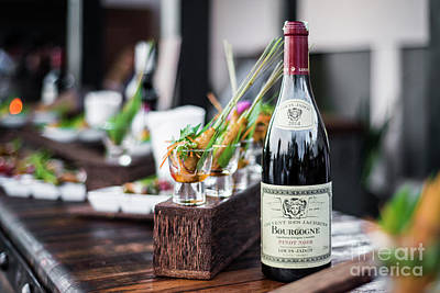 Photograph - Bottle Of Red Bourgogne Wine At Oudoor Party Bar by Jacek Malipan