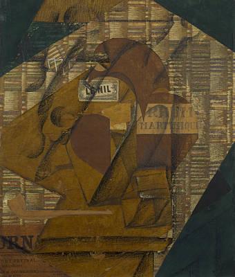 Rum Painting - Bottle Of Rum And Newspaper by Juan Gris