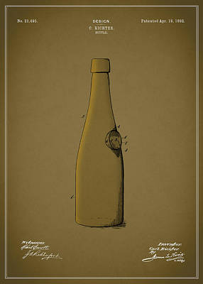 Beer Photograph - Bottle Patent 1892 by Mark Rogan