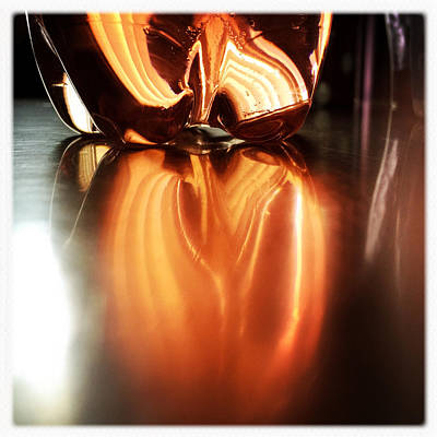 Orange Photograph - Bottle Reflection - Abstract Colorful Art Square Format by Matthias Hauser