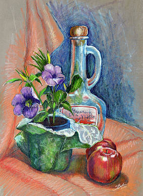 Bottle With Plants Still Life Print by Stephen Boyle
