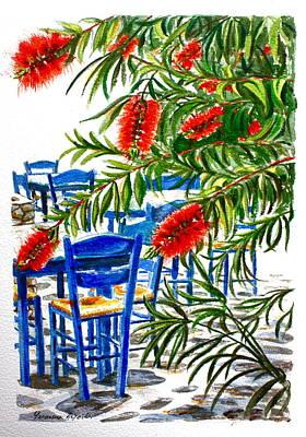 Bottlebrush And Blue Art Print by Yvonne Ayoub