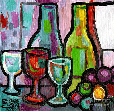Painting - Bottled Wine Abstract For Two by Genevieve Esson