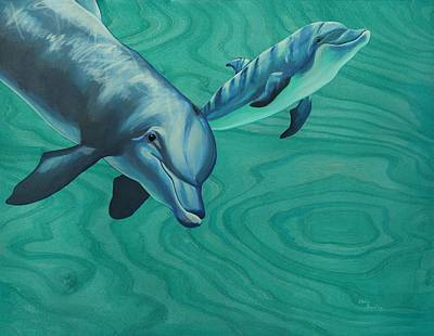 Fish Underwater Painting - Bottlenose Dolphins by Emily Brantley