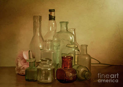 Photograph - Bottles And A Peony by Hal Halli