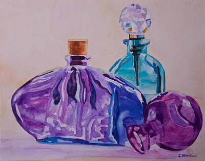 Perfume Bottles Painting - Bottles And Stoppers by Jenny Armitage