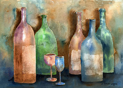 Wine Painting - Bottles by Arline Wagner