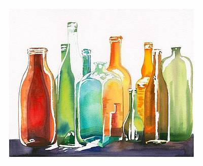 Painting - Bottles by Elena Mahoney