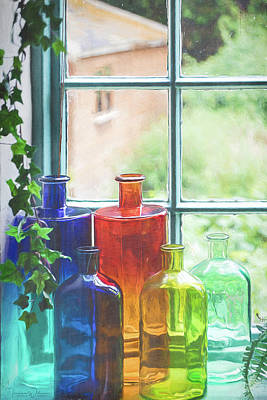 Photograph - Bottles In The Window Vertical by Teresa Wilson