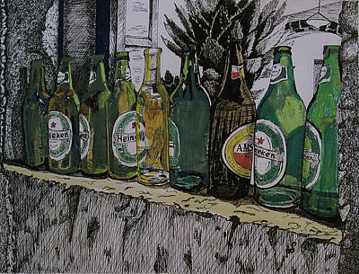 Glass Wall Drawing - Bottles by Maria Woithofer