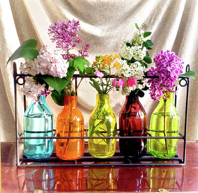 Wall Art - Photograph - Bottles Of Flowers - Mini by Wendy Blomseth