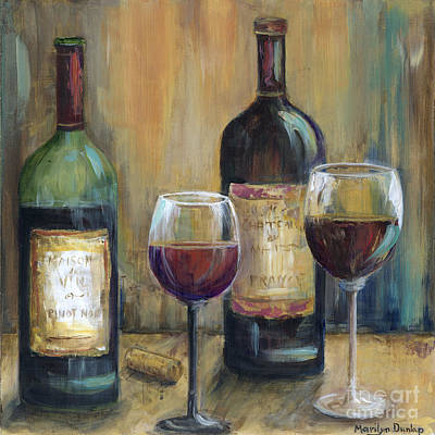 Wine Bottle Painting - Bottles Of Red by Marilyn Dunlap