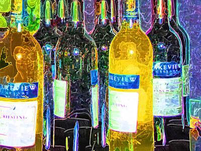 In A Row Painting - Bottles Of Wine by Deborah MacQuarrie-Selib