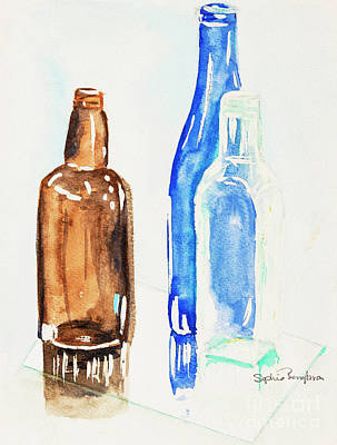 Reflections On Bottle Painting - Bottles Watercolour by Sophie McAulay