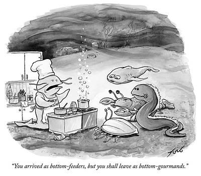 Sea Food Drawing - Bottom Gourmands by Tom Toro