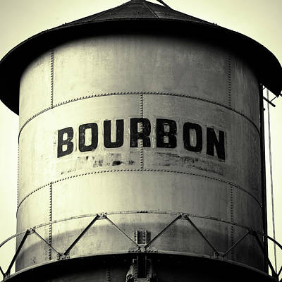 Photograph - Bourbon Whiskey Water Tower - Square Bw Pub Art by Gregory Ballos