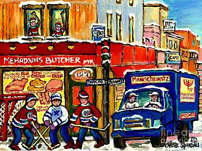 Painting - Boucherie Mehadrin Kosher Butcher Shop Hockey Kids Manischewitz Delivery Truck Jewish Montreal Art by Carole Spandau