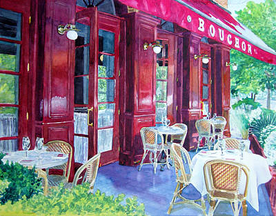 Wine Country Painting - Bouchon Restaurant Outside Dining by Gail Chandler