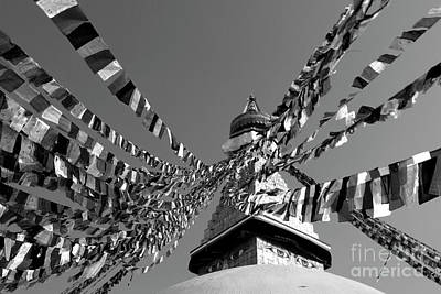 Photograph - Boudhanath Stupa In Black And White by Nola Lee Kelsey