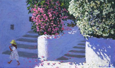 Warm Summer Painting - Bougainvillea, Anandas, Milos, Greek Islands by Andrew Macara