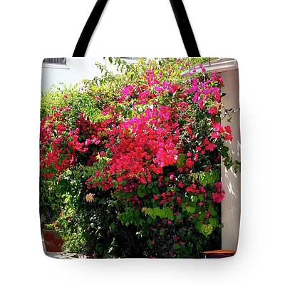 Photograph - Bougainvillea Courtyard - Tote by Gene Parks