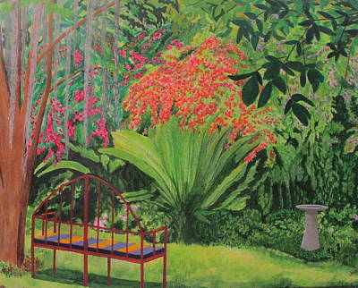 Painting - Bougainvillea Garden by Hilda and Jose Garrancho