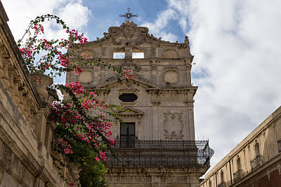 Photograph - Sunlit Pink Bougainvillea At Santa Lucia Alla Badia Church In Syracuse Sicily by Georgia Mizuleva