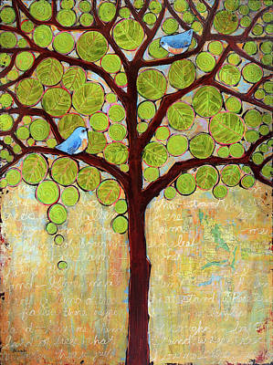 Bluebird Painting - Boughs In Leaf Tree by Blenda Studio