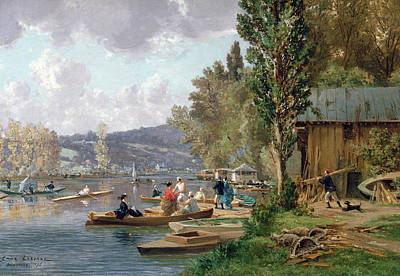 Boathouse Painting - Bougival by Emile-Edme Laborne