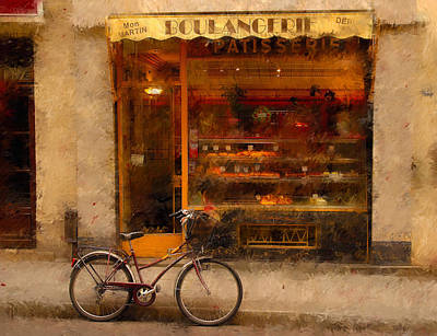 Line Drawing Quibe - Boulangerie and Bike 2 by Mick Burkey