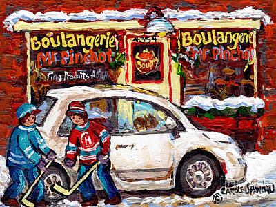 Painting - Boulangerie Mr Pinchot Rues De Brebeuf Et Marianne Montreal Storefront Winter Hockey Scene C Spandau by Carole Spandau