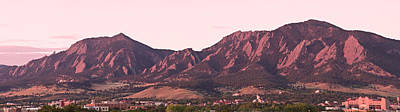 Mountain Rights Managed Images - Boulder Colorado Flatirons 1st Light Panorama Royalty-Free Image by James BO Insogna