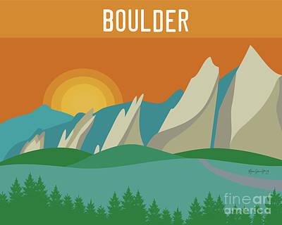 Mountain Sunset Digital Art - Boulder Colorado Horizontal Scene by Karen Young