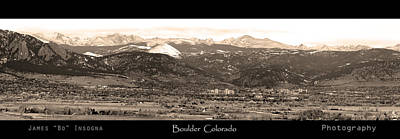 Photograph - Boulder Colorado Sepia Panorama Poster Print by James BO Insogna