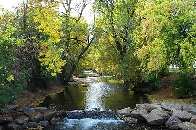 Boulder Creek Tumbling Through Early Fall Foliage Art Print