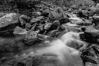 Photograph - Boulder Creek Water Falling In Monochrome by James BO  Insogna