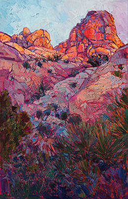 Print featuring the painting Boulder Dawn by Erin Hanson