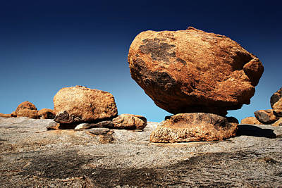 Terrain Photograph - Boulder On Solid Rock by Johan Swanepoel