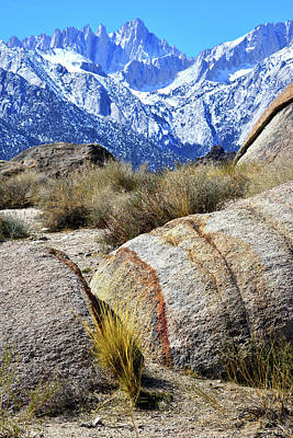 Photograph - Boulders Of The Alabama Hills Frame Mt. Whitney by Ray Mathis
