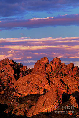 Art Print featuring the photograph Boulders Sunset Light Pinnacles National Park Californ by Dave Welling