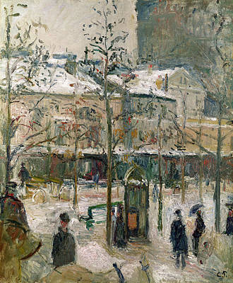 Crowd Scene Painting - Boulevard De Rocheouart In Snow by Camille Pissarro